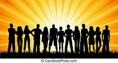 riesig, personengruppe