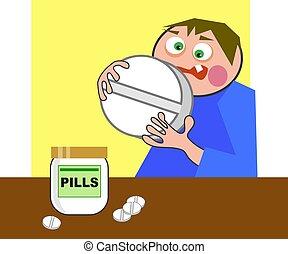 riesig, pille