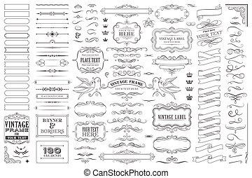 riesig, sammlung, oder, satz, von, vektor, dekorative elemente, für, design