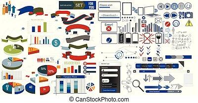 riesig, sammlung, von, netz- design, elements.eps