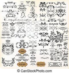 riesig, sammlung, von, vektor, calligraphic, flourishes, für, design.eps