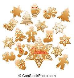 riesig, sammlung, von, weihnachten, lebkuchen