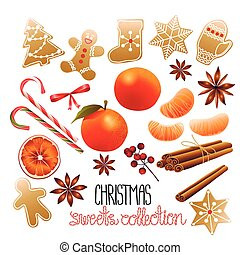riesig, sammlung, von, weihnachten, süßigkeiten