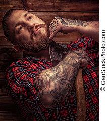 riesig, seine, tattooes, brutal, rasuren, mann, bart