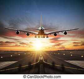 riesig, stockwerke, nehmen, gewerblich, zwei, düsenverkehrsflugzeug, startbahn