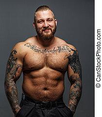 riesig, tattooes, brutal, lächeln, bart, mann