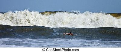 riesig, welle, surfer