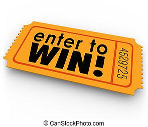 rifa, jackpot, loteria, ganhe, vencedor, entrar, bilhete