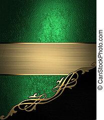 rifilare, angolo, oro, sfondo verde, nero