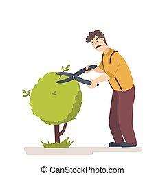 rifilare, garden., taglio, lavoratore, albero, siepe, giardiniere