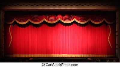 rifilare, teatro, palcoscenico, fondo, drappo, luminoso, giallo, vendemmia