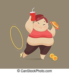 rifiutare, donna mangia, esercizio, giovane, fast food, vettore, illustrazione, pezzo, donne