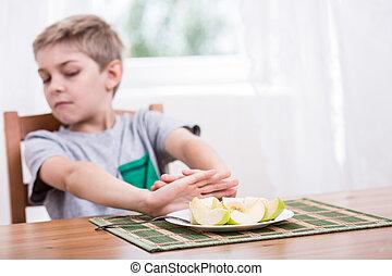 rifiutare, mangiare, cibo sano