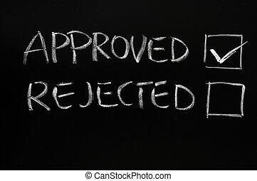 rifiutato, approvato, checkboxes