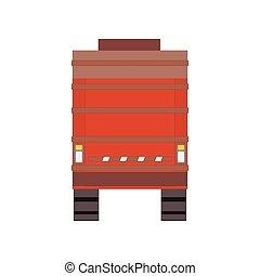 rifiuti, immondizia, indietro, illustrazione, isolato, fondo., vettore, camion, vehicle., bianco, cartone animato, rosso, vista