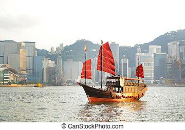 rifiuto, barca, in, hong kong