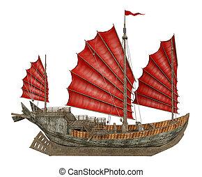 rifiuto, cinese, isolato, fondo, nave, bianco