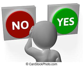 rifiuto, no, granted, mostra, bottoni, sì, o