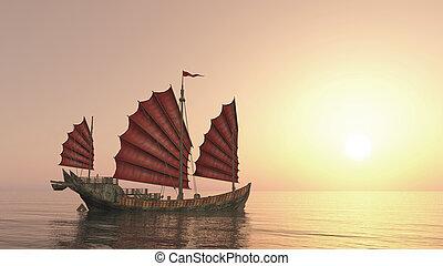rifiuto, tramonto, nave, cinese