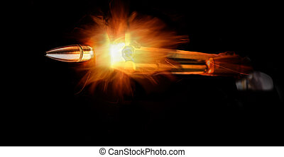Rifle And Bullet - Rifle and bullet with bright flames on...