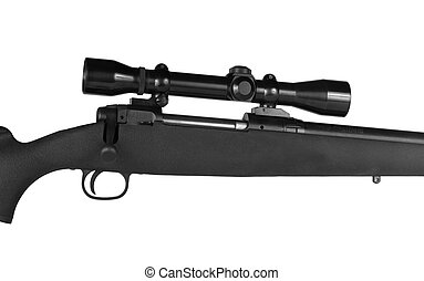 Rifle and Scope - Isolated high powered rifle with a scope