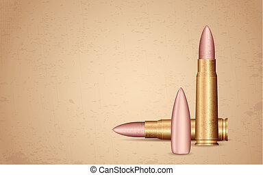rifle, bala, ligado, grungy, fundo