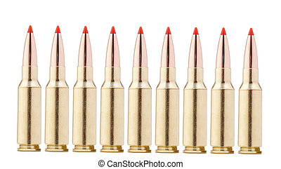 rifle bullets on white