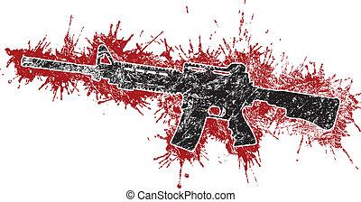 rifle de asalto, con, sangre, manchas