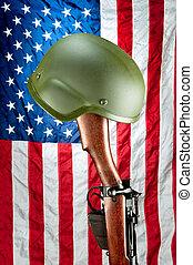 rifle, e, capacete, memorial