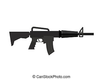 Rifle isolated. Machine gun on white background. Military weapon