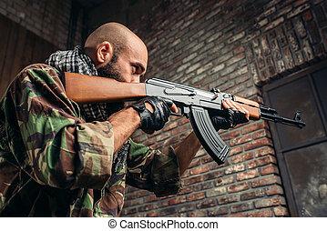 rifle, retoños, terrorista, explosión, pasillo