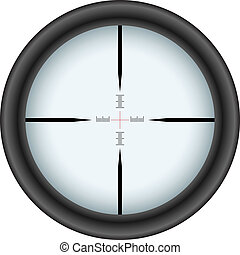 Rifle scope crosshair isolated on white background.