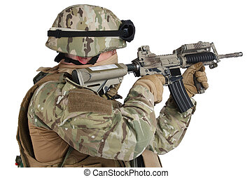 rifle shooting - soldier with assault rifle