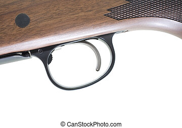 Rifle trigger - Trigger on a hunting rifle with a wood stock