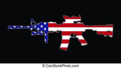 Rifle with American flag painted on