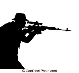 Black silhouette of the riflemen isolated on white