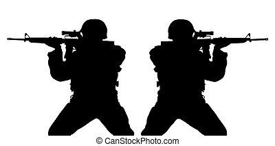 Riflemens silhouettes - Black silhouette of riflemens...