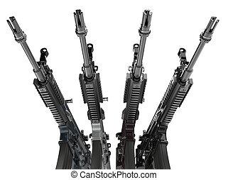 rifles, ángulo, -, asalto, primer plano, bajo, tiro