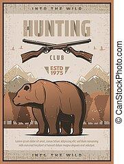 rifles, caça, vindima, urso, vetorial, cartaz, ou