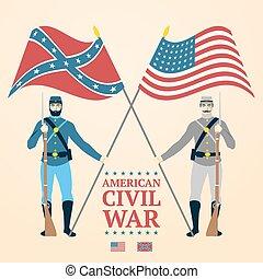 rifles., norteño, civil, -, meridional, ilustración, norteamericano, vector, tenencia, soldados, banderas, uniforme, guerra