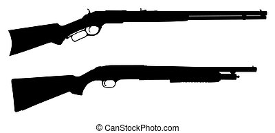 Rifles - Vector illustration of rifles silhouettes (High...