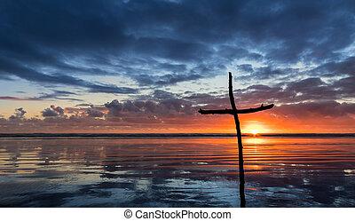 riflessione, bastone, croce, salvezza