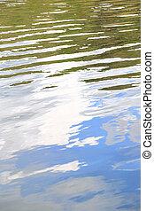riflessione, cielo, struttura, increspature acqua, superficie, vegetazione