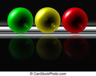 riflessione, colorare, astratto, sfere, sfondo nero