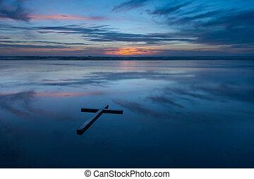 riflessione, croce, spiaggia