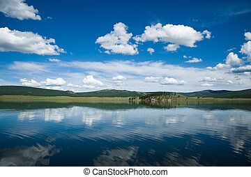 riflessione, in, uno, lago