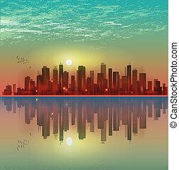 riflessione, moderno, o, chiaro di luna, notte, cityscape, tramonto
