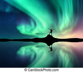 riflessione, settentrionale, acqua lago, luci, uomo