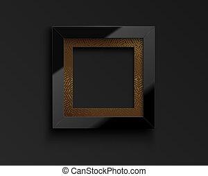 riflessione, vettore, modello, fondo, scuro, bordo, congratulazioni, lucido, realistico, nero, quote., dorato, foto, immagine, passepartout., quadrato, cornice, lusso, vetro
