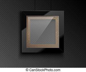 riflessione, vettore, modello, fondo, scuro, bordo, congratulazioni, lucido, realistico, nero, quote., dorato, trasparente, foto, immagine, passepartout., quadrato, cornice, lusso, vetro
